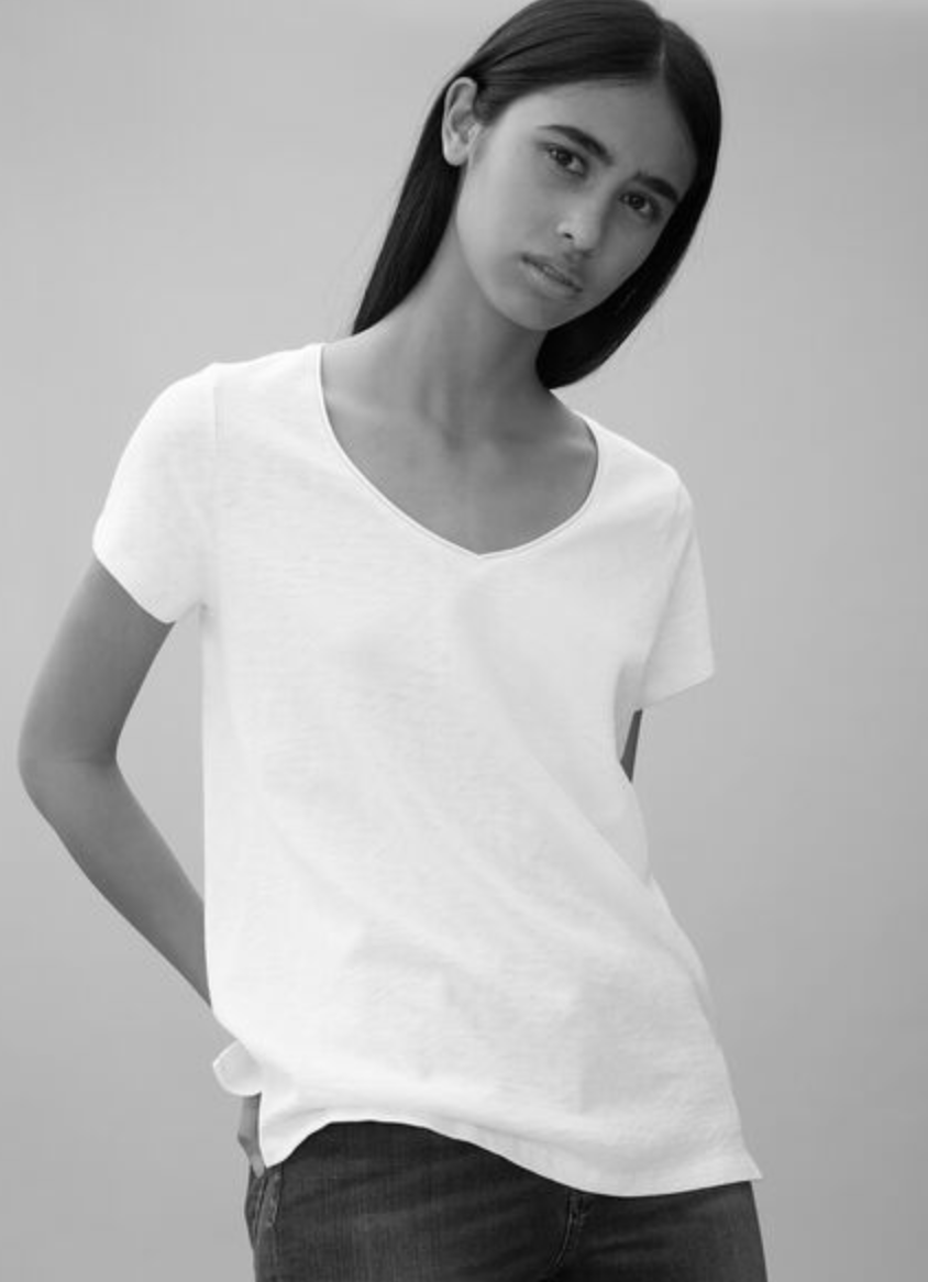 MARC O'POLO T Shirt Weiß V-Neck mit Rollkante in Weiss